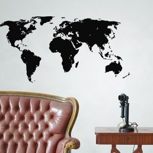 Black World Map Wall Sticker - Room Image