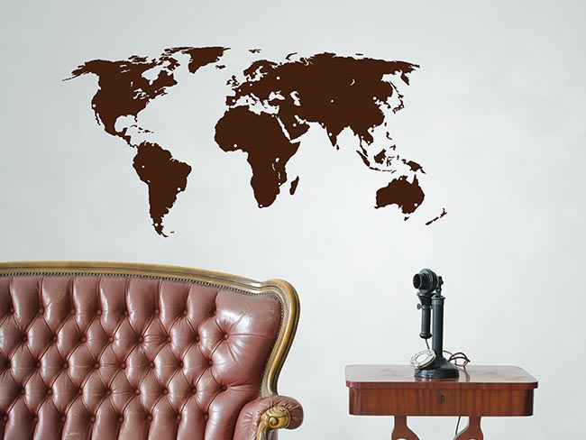 Brown World Map Wall Sticker - Room Image
