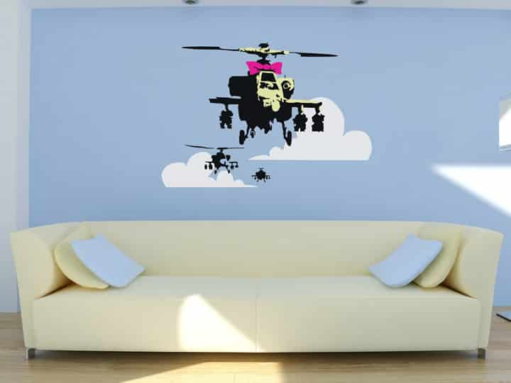 Banksy Apache Helicopter Wall Sticker - Room Image