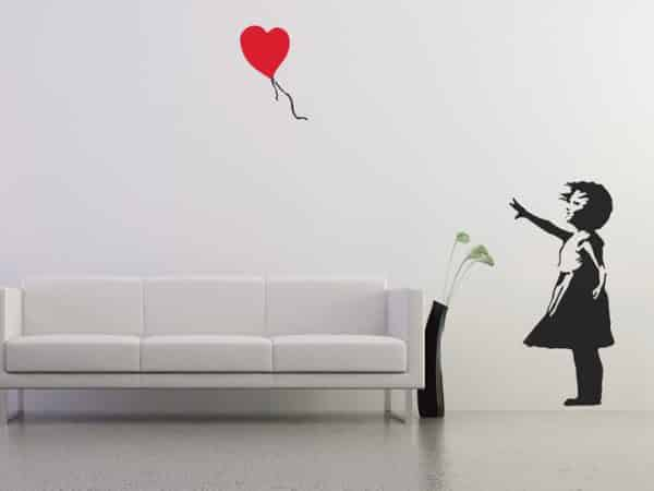 Banksy Balloon Girl Wall Sticker - Room Image