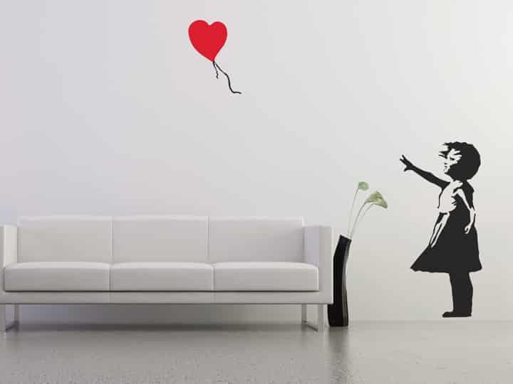 Banksy Balloon Girl Wall Sticker - Room Image