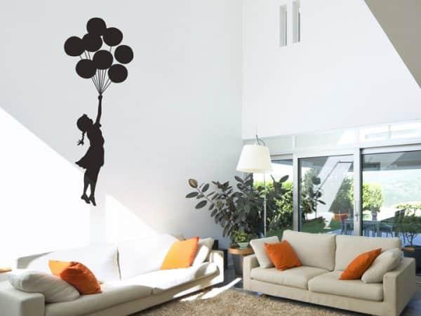 Banksy Balloon Floating Wall Sticker - Room Image