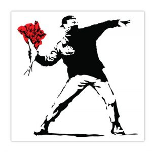 Banksy Flower Thrower Wall Stickers-4718
