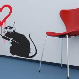 Banksy Love Rat Wall Sticker - Room Image