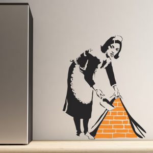 Banksy Maid Wall Sticker - Room Image