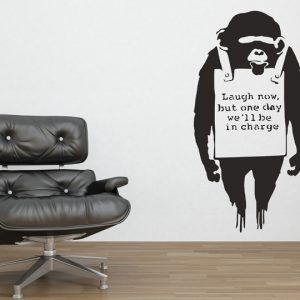 Banksy Monkey Sign Wall Sticker - Room Image