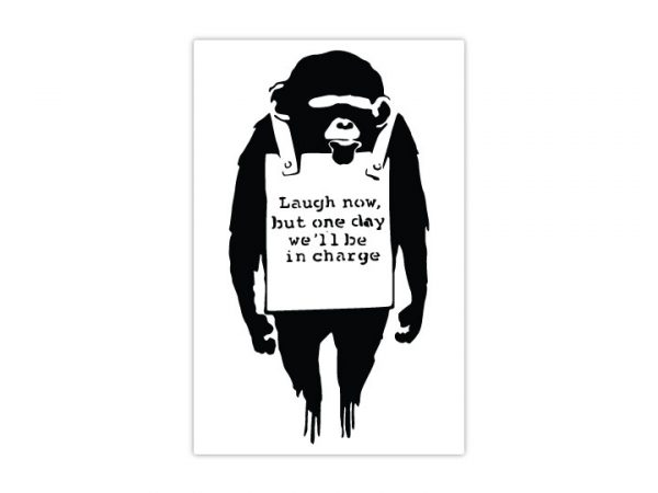 Banksy Monkey Sign Wall Stickers-4719