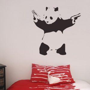 Banksy Panda Wall Sticker - Room Image