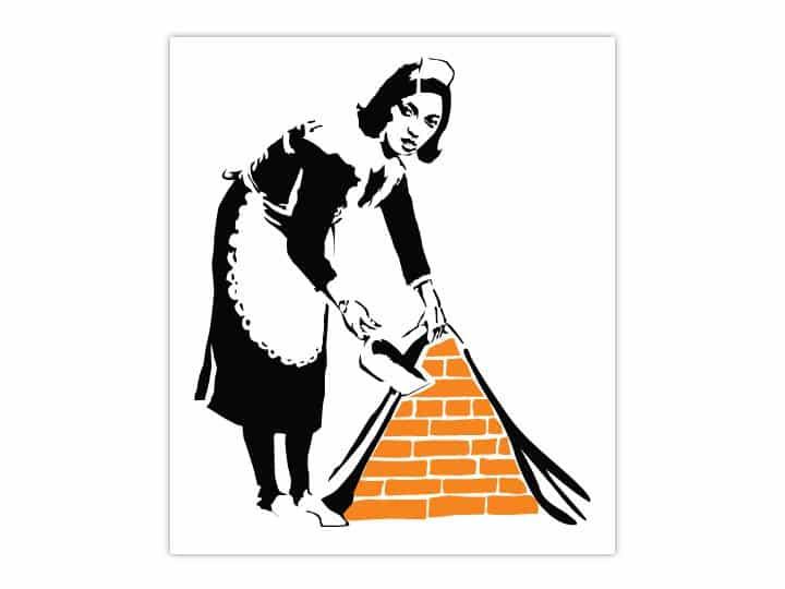 Banksy Maid Wall Sticker - Dimensions