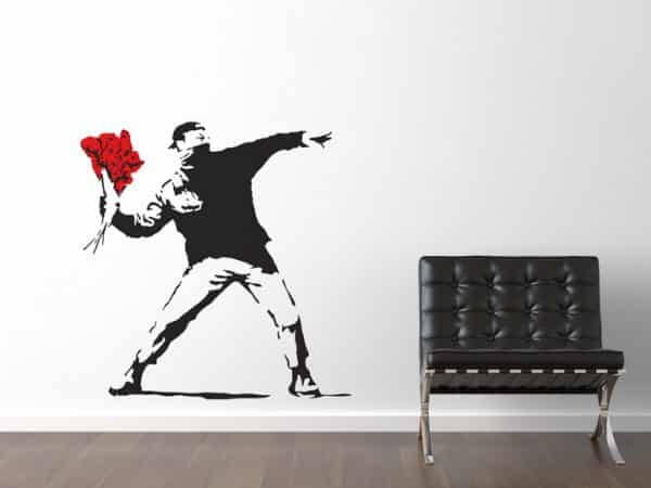 Banksy Flower Thrower Wall Sticker - Room Image