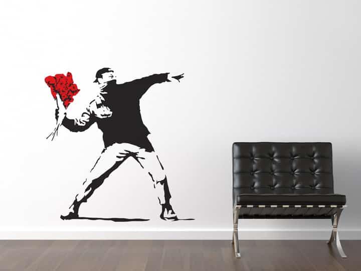 Banksy Flower Thrower Wall Sticker - Room Image