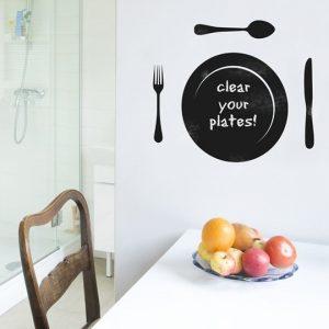 Chalkboard Plate & Cutlery Wall Stickers-0