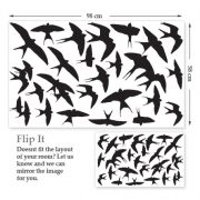 Swallows Wall Stickers Dimensions