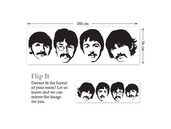 The Beatles Wall Stickers Dimensions
