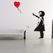 Large Banksy Balloon Girl Wall Stickers-0