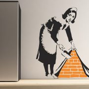 Large Banksy Maid Sweeping Wall Stickers-0