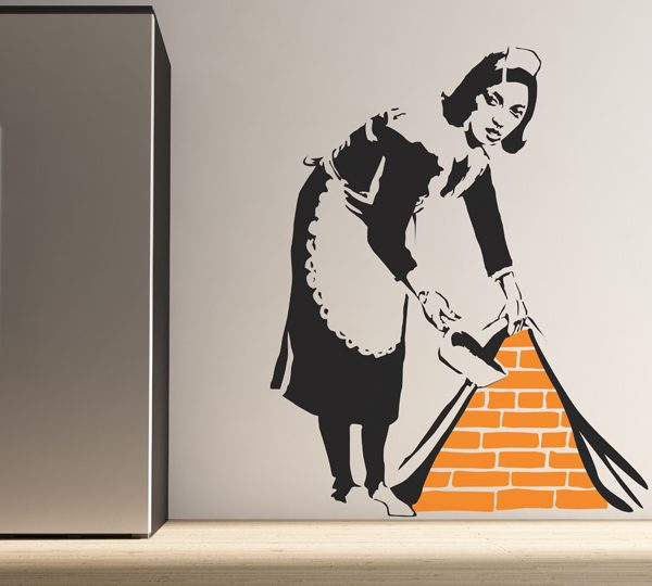 Large Banksy Maid Sweeping Wall Stickers-557
