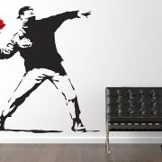 Large Banksy Flower Thrower Wall Sticker-0