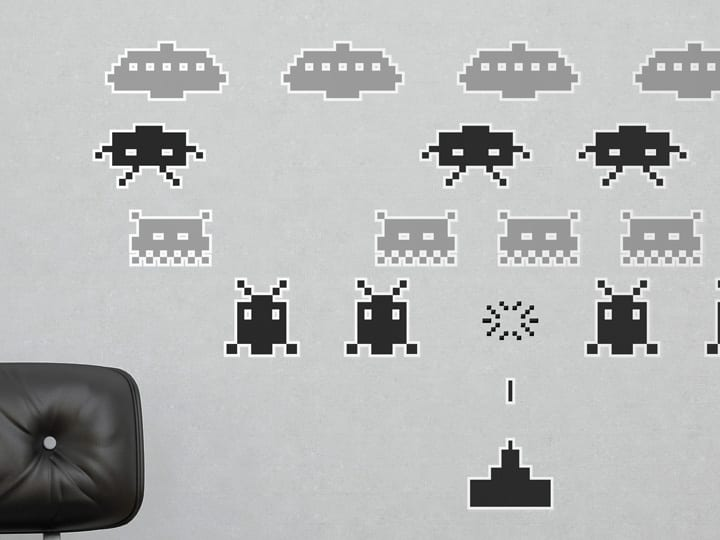 Space Invaders Wall Stickers | Black and Grey