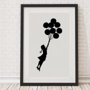 Banksy Floating Balloon Girl Framed Print