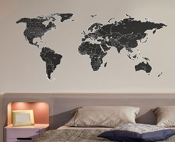 Black labelled world map wall sticker the binary box home wall stickers gumiabroncs Gallery