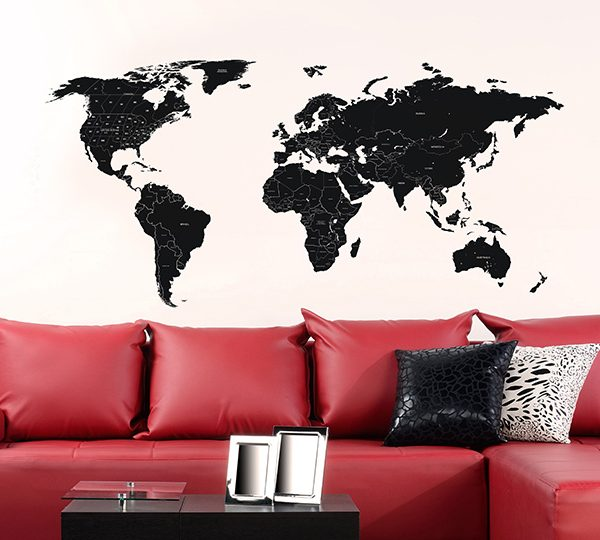 Large black labelled world map wall stickers the binary box home wall stickers gumiabroncs Image collections