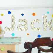 Personalised Multicoloured Polka Dot Childrens Name Wall Stickers
