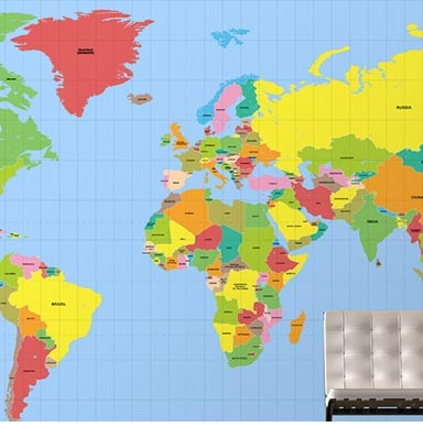 educational world map wall art