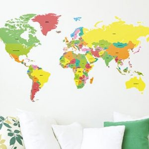 world map educational wall sticker