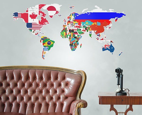 countries flags world map wall sticker
