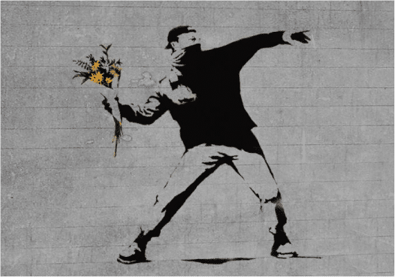 banksy man throwing flowers stencil art