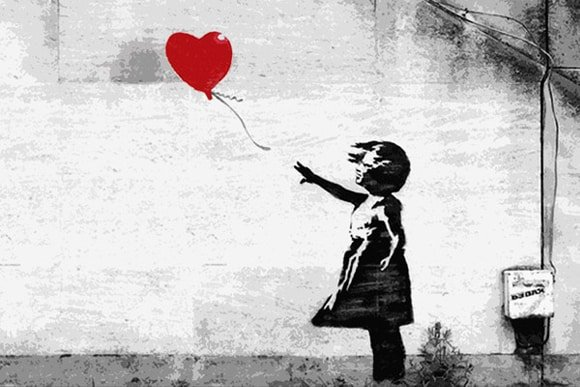 banksy girl with red ballon stencil art