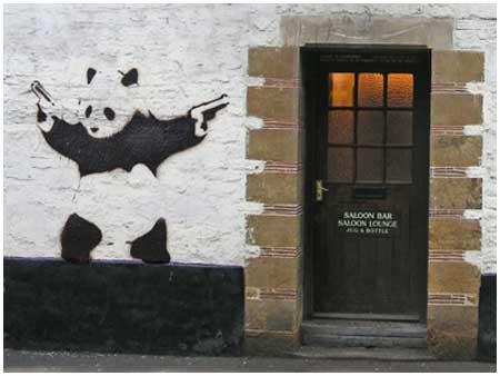 banksy panda stencil art