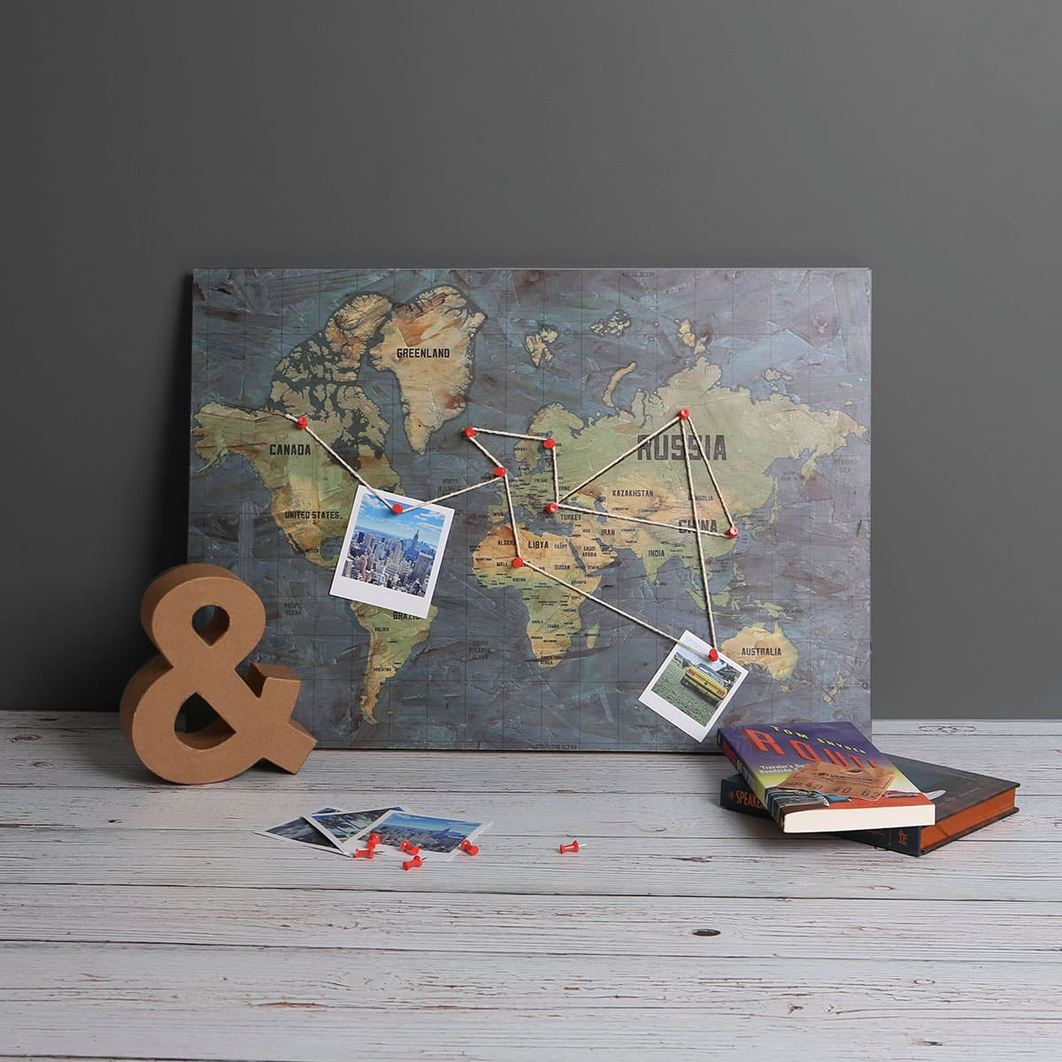 Wooden pin board world map track and display your travels main image of wooden pin board map of the world gumiabroncs Choice Image