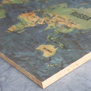 Wooden Close up Pin Board Map of the World