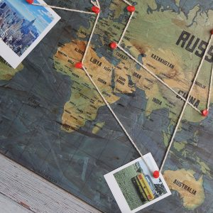 Wooden Pin Board Map of the World