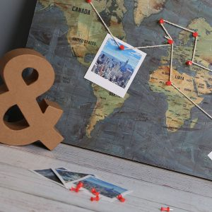 additional image Wooden Pin Board Map of the World