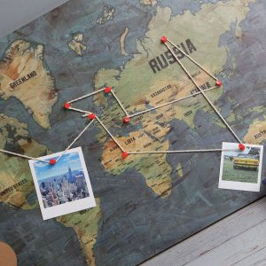 Pins on wooden world map plaque