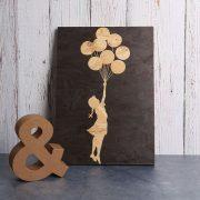 Wood print Banksy balloon girl art