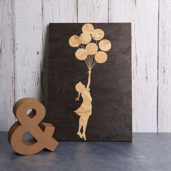 Wood print Banksy balloon girl art
