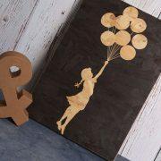banksy art. wooden balloon girl