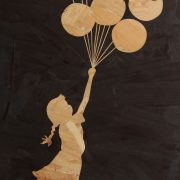 Close up Banksy art balloon girl