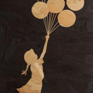Close up Banksy art balloon girl