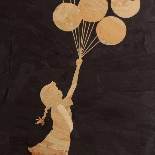 close up of Banksy art balloon girl wooden print