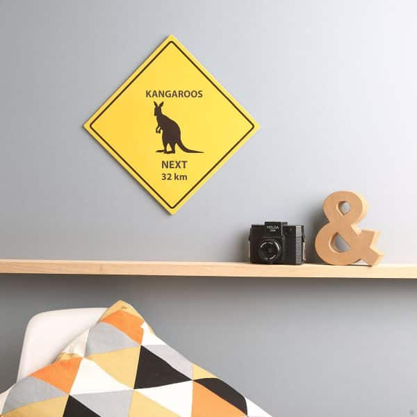 Australian styled animal warning sign print for home and office