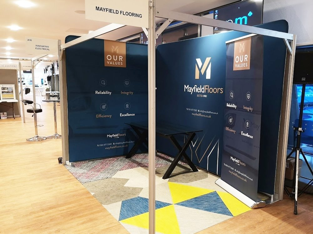 Mayfield Floor Fabric Banners and Roller Banner Exhibition Stand