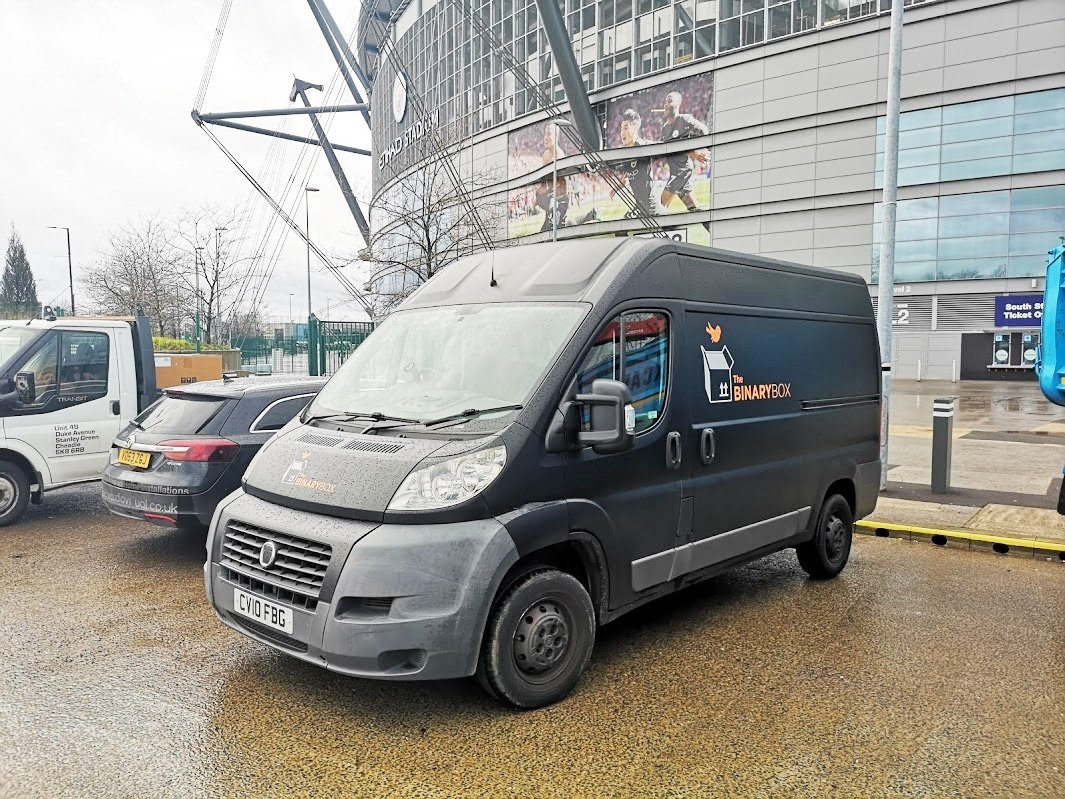 The Binary Box van outside Etihad Stadium