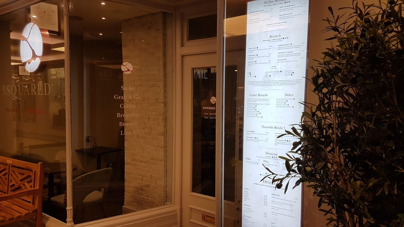 3 Squared Cafe Window Signage