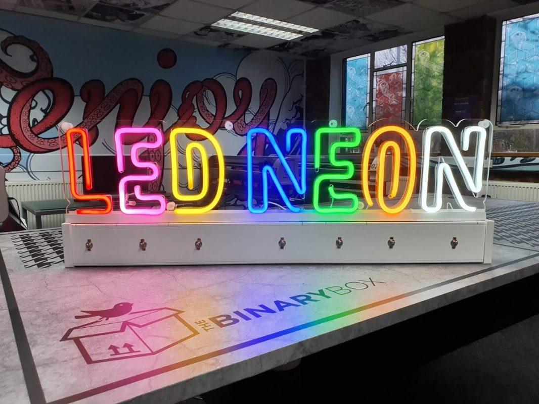 Flex neon sample box in The Binary Box studio