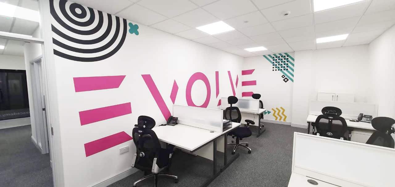 Plot Curt Branding Wall at Evolve Academy